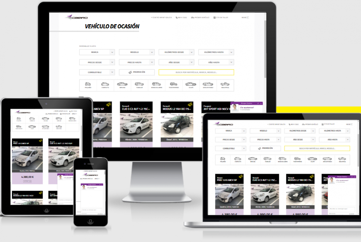 Nueva web de coche de segunda mano y kilómetro cero en la web de Grupo Caeiro